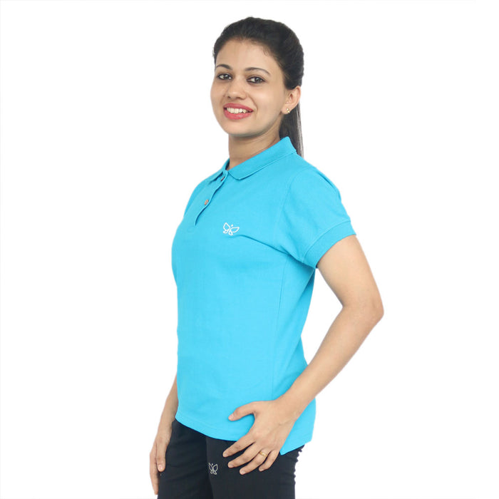 Sky Blue-Women's Polo Tshirt Regular - Deivee