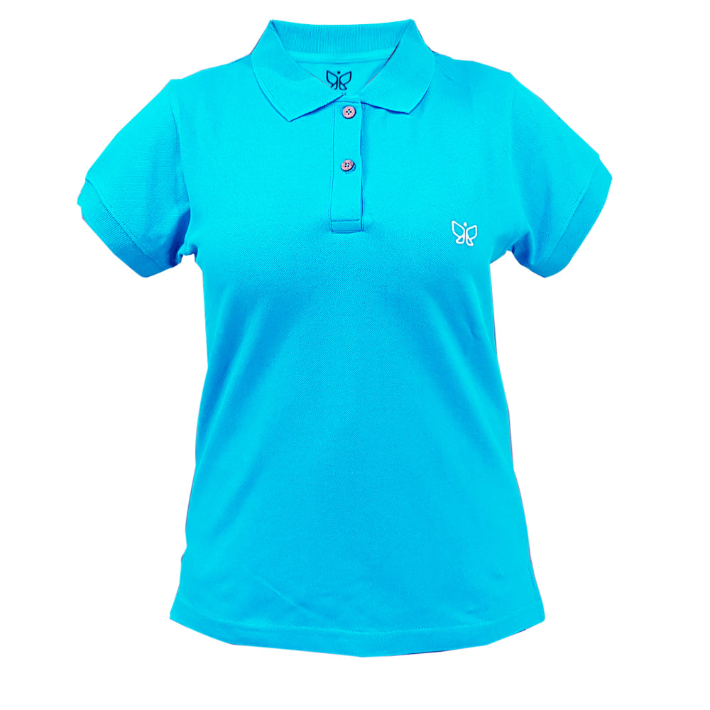 Sky Blue-Women's Polo Tshirt Regular Use code POLO to get buy 1 get 1 offer - Deivee