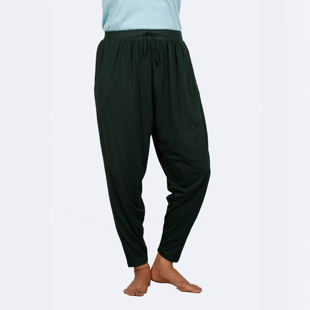 BOTTLE GREEN HAREM PANT - Deivee