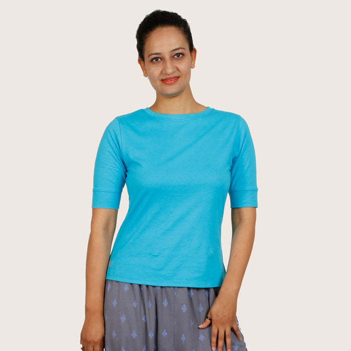 Blue Half Sleeve T-Shirt - Deivee