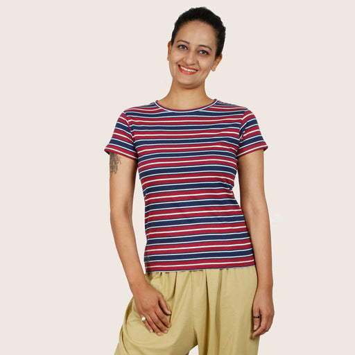 Maroon Blue Stripes T-shirt - Deivee