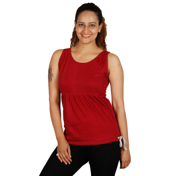 Burgundy Drawstring Tank Top - Deivee