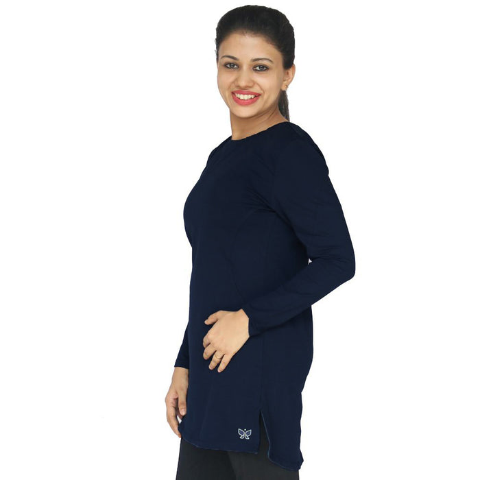 Deivee Paneled Kurti For Gym / Yoga - MidNight Blue - Deivee