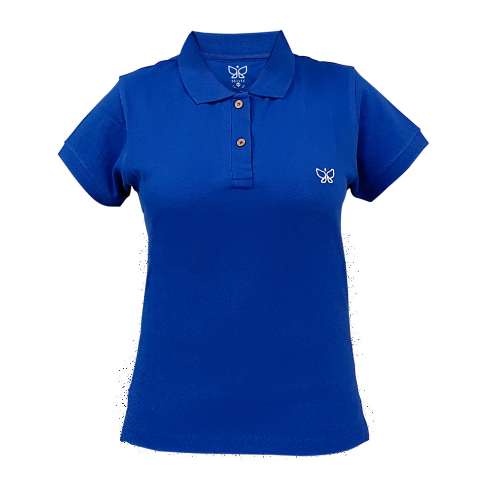Navy Blue Women's Polo Tshirt Regular - Deivee