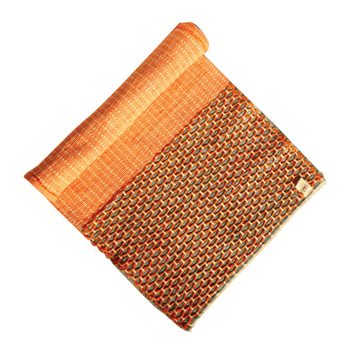 Sanathana - Orange Grey Jute And Cotton Yoga Mat - Deivee