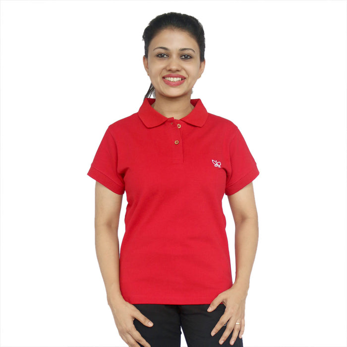Cherry Red Women's Cotton Polo T-shirt Regular - Deivee