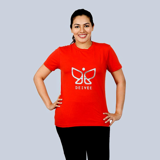 Deivee Copper Red Organic Cotton Round Neck Logo T-shirt For Women - Yoga/ Gym wear