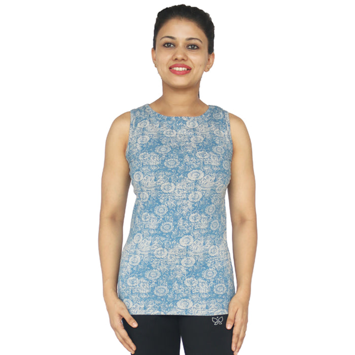 Grey Printed Tank Top - Deivee