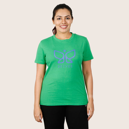 Deivee Parrot Green Organic Cotton Round Neck Logo T-shirt For Women - Yoga/ Gym wear