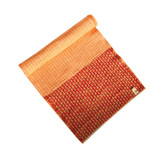 Sanathana - Orange Red Cotton and Jute Mat - Deivee