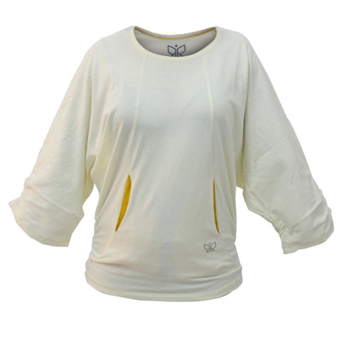 Cream - Batwing Comfy Yoga Top - Deivee