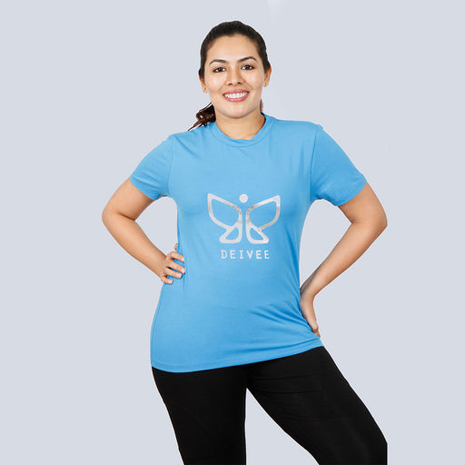 Deivee Sky Blue Organic Cotton Round Neck Logo T-shirt For Women - Yoga/ Gym wear