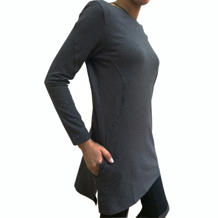 Deivee Paneled Kurti For Gym / Yoga - Charcoal melange - Deivee