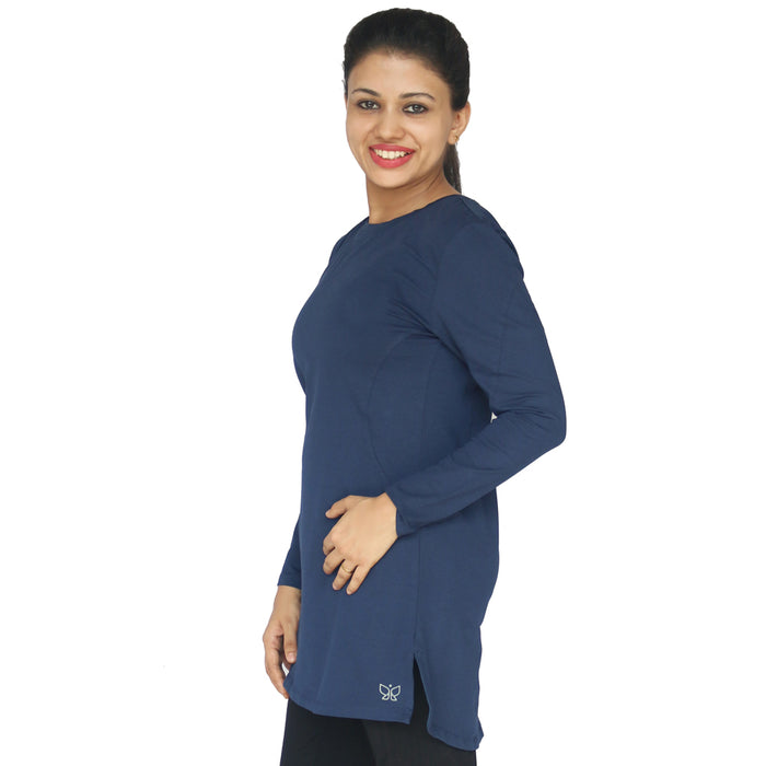 Deivee Paneled Kurti For Gym / Yoga - Blue - Deivee