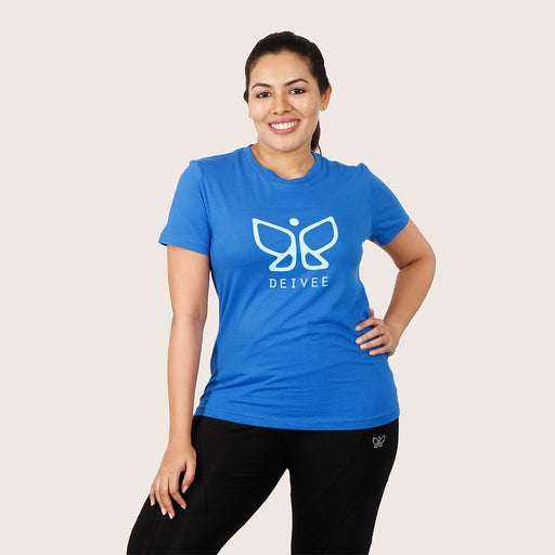 Deivee Blue Organic Cotton Round Neck Logo T-shirt For Women - Yoga/ Gym wear