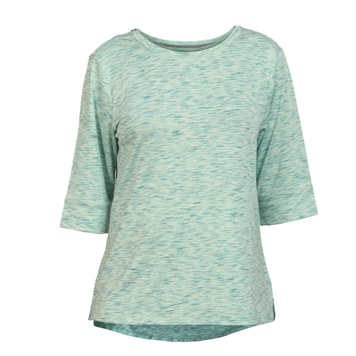 Deivee-Green round neck 3/4 sleeve T-Shirt