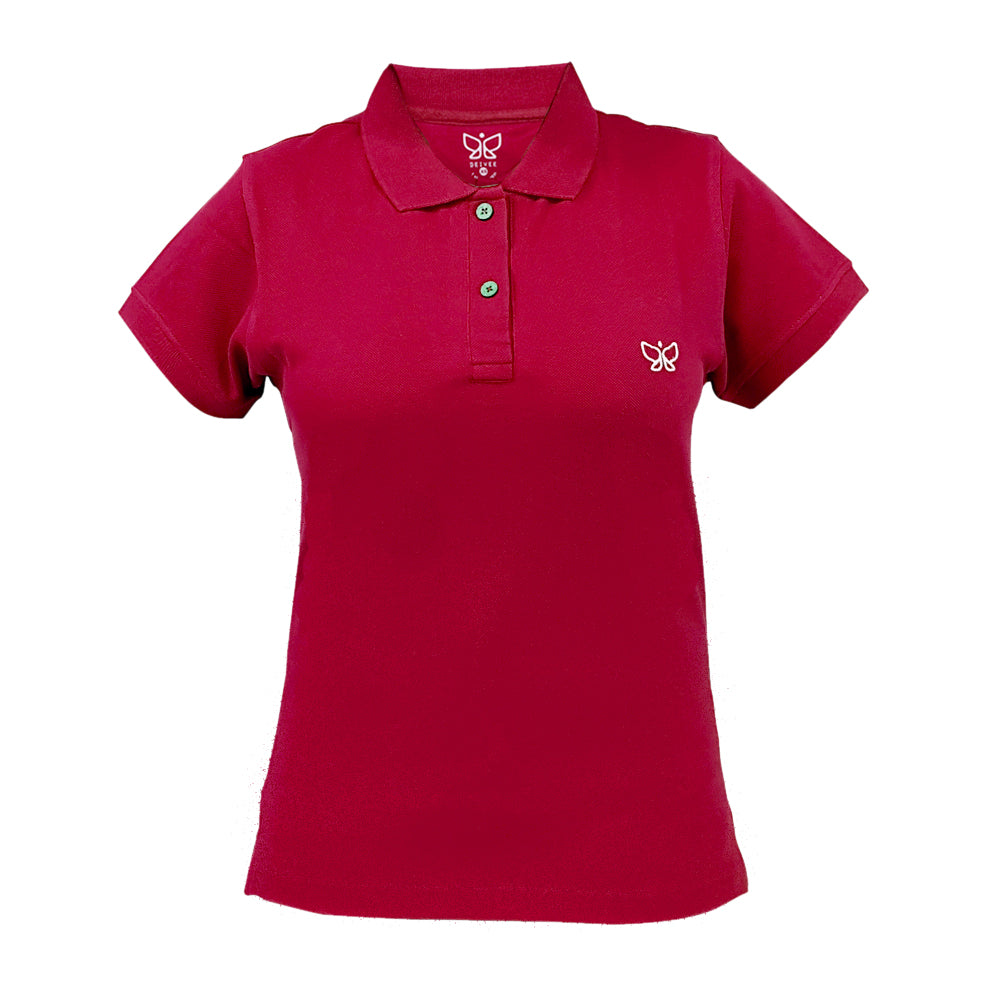 Candy Red Women's Polo Long Tshirt - Deivee
