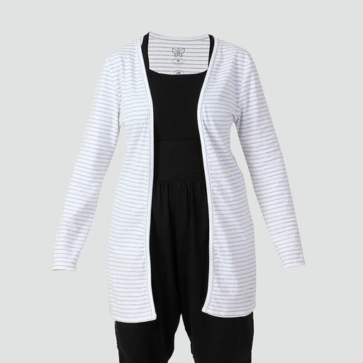White & Grey Stripes Shrug - Deivee