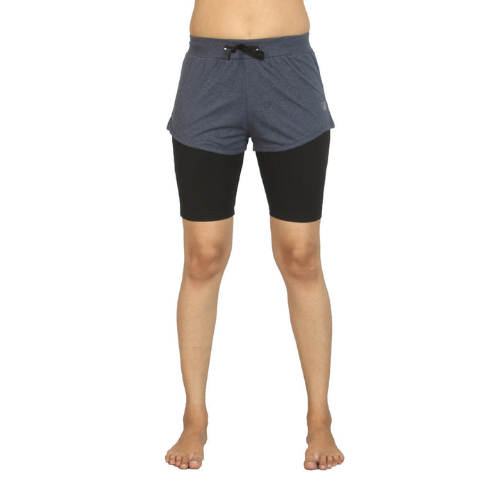 Navy Melange Ashtanga Yoga Tight - Deivee