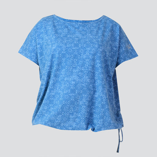 Blue Printed Drawstring Hem Top - Deivee