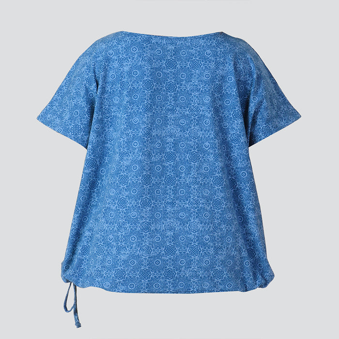 Blue Printed Drawstring Hem Top