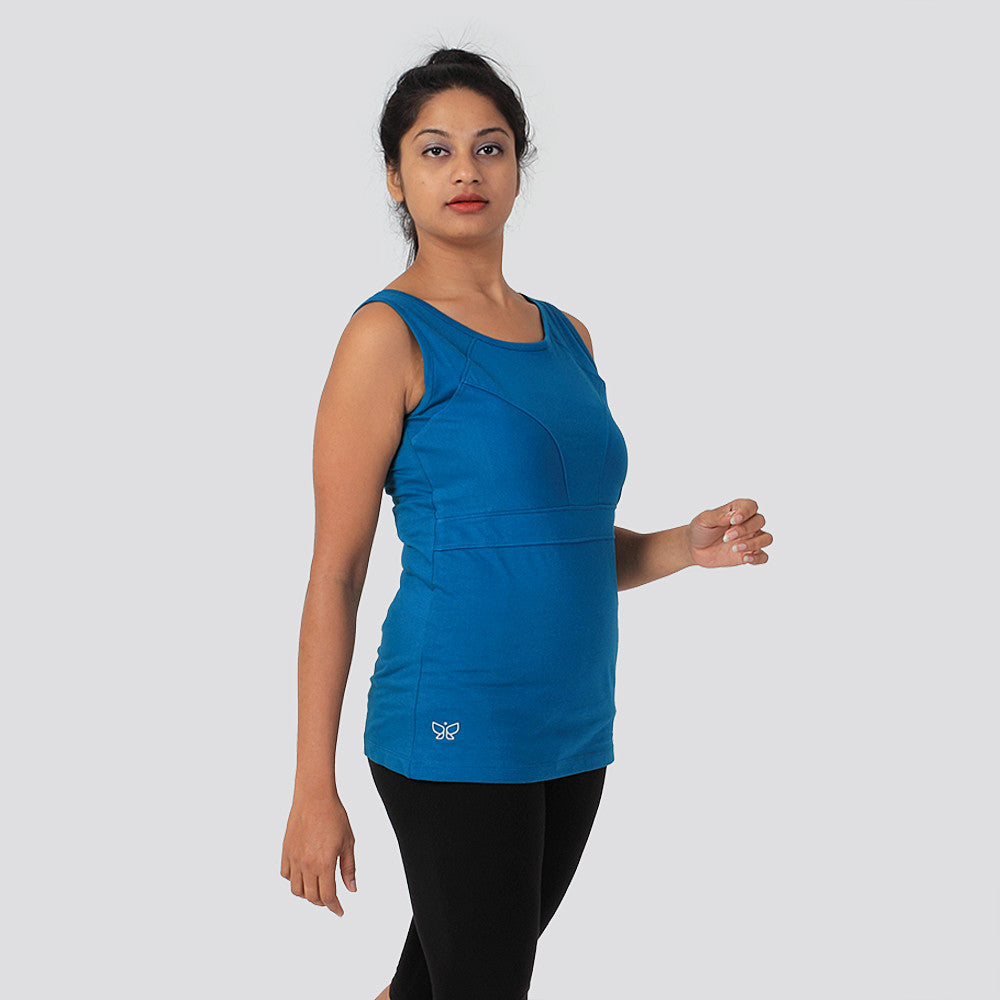 Peacock Blue Organic Paneled Tank Top