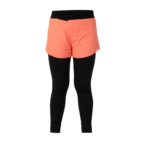 Salmon & Black Layered Tights with Shorts - Deivee