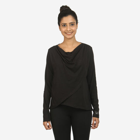 Black - Comfy Drawstring Hem Top - Deivee