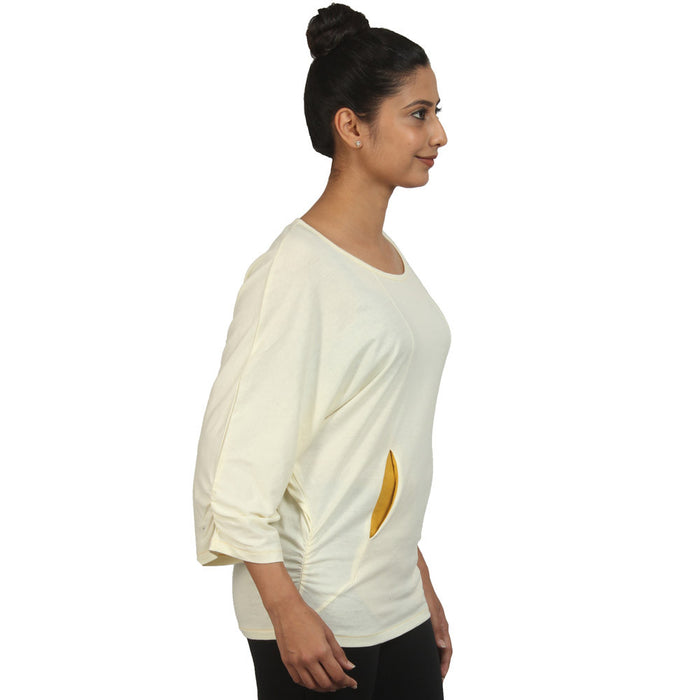 Cream Batwing Comfy Yoga Top - Deivee