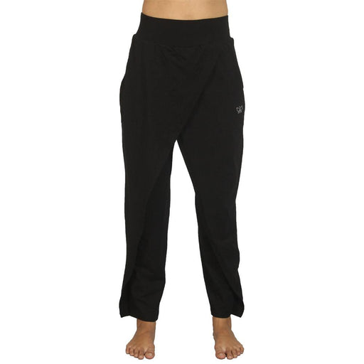 Black - Drape Style Organic Cotton Yoga Pants - Deivee
