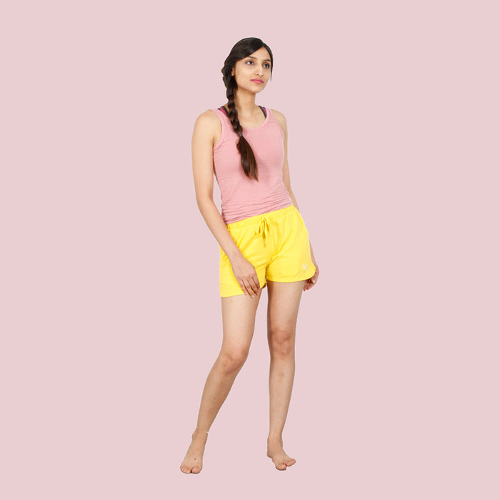 Deivee Yellow Cotton Basic Shorts For Women
