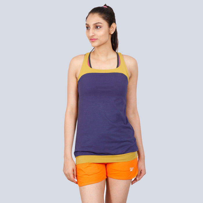 Deivee Orange Basic Cotton Shorts For Women