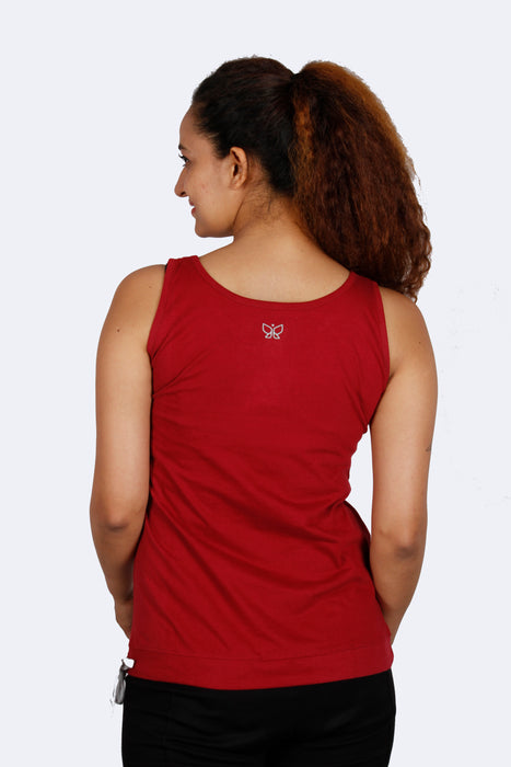 Burgundy Drawstring Tank Top