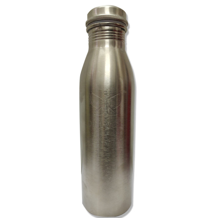 Deivee Copper Water Bottle - Silver  Colour Matte finish engraved logo - Deivee
