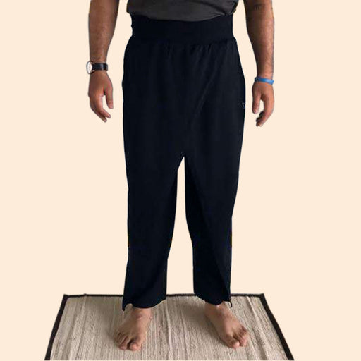 Black - Drape Style Organic Cotton Yoga Pants For Men - Deivee