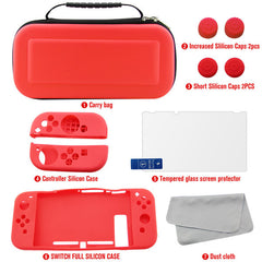Hot For Nintendo Switch Carrying Bag Case Screen Protector Joy Con Cover 7 Kits Accessories