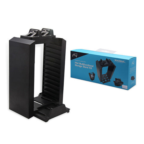 Deli PS4 Multifunctional Storage Stand Kit - Alloy Game Disk Storage Tower (Dual Charging Dock NOT Included) for Holding 12 Games/DVDS/Blu-ray with Console Stand for Sony PlayStation4 PS4 Black