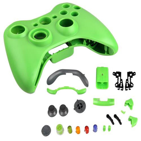 Case Shell Cover Skin + Buttons Set Video Games for XBox 360 Controller ( Green )