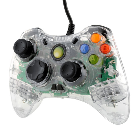 USB Wired Green LED Transparent Gamepad Controller For Microsoft XBOX 360