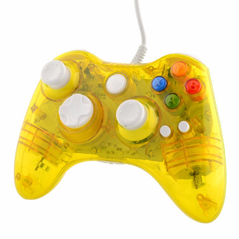 USB Clear Yellow LED Color Glow Gaming Controller For Microsoft Xbox 360