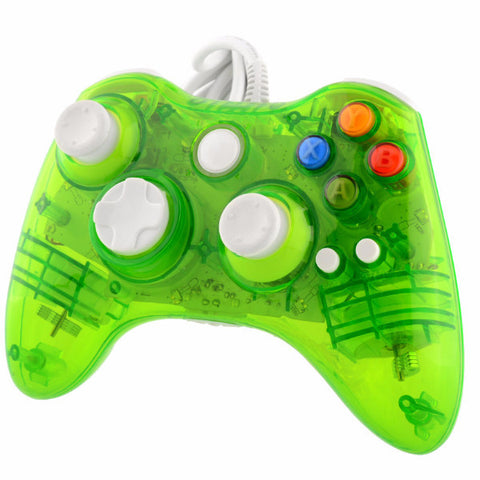 USB Wired Clear Green LED Color Glow Gaming Controller For Microsoft Xbox 360