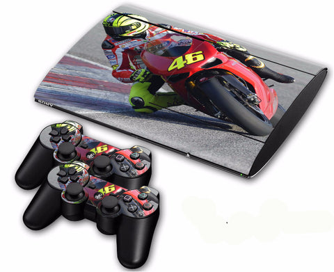 PS3 Super Slim 4000 Cool Style Motorcycle Racing Skin Sticker Decals for Console and 2 Controllers
