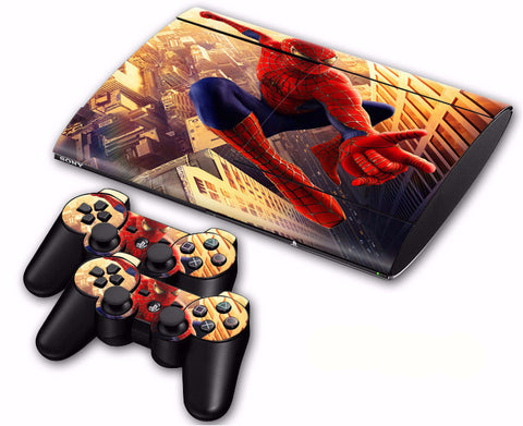 PS3 Super Slim 4000 Cool Spider Man Skin Stickers for Console + 2 Pcs Controllers