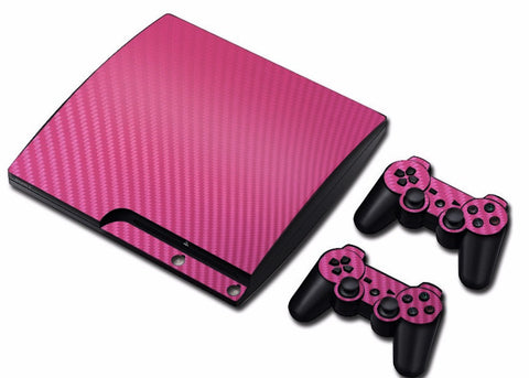 PS3 Slim New Carbon Fiber Skin Sticker for Console and 2 Controllers ( 5 Colors )