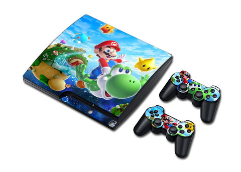 PS3 Slim Super Mario Cartoon Cool Skin Sticker For Game Console and 2pcs Controllers ( 6 Styles )