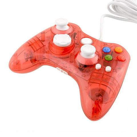 USB Clear Red LED Color Glow Gaming Controller For Microsoft Xbox 360