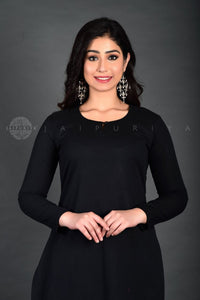 Black Kurta Pant Suit with Tan Bandhej Dupatta