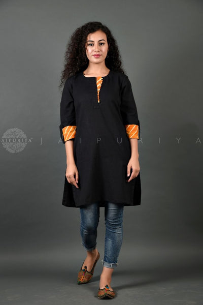 Black Leheriya Cuff Short Kurti