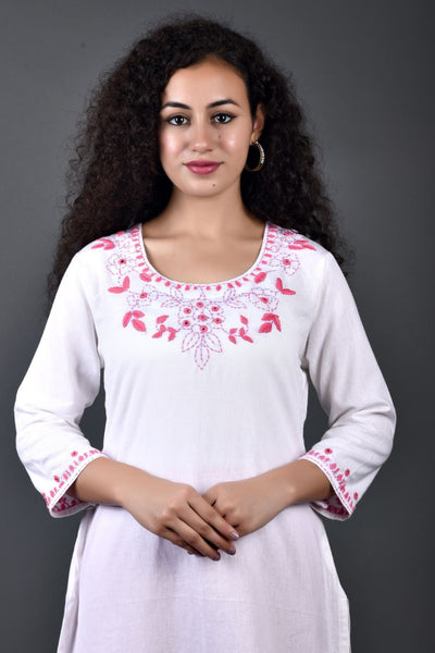 White Pink Phool Hand Embroidery Kurta