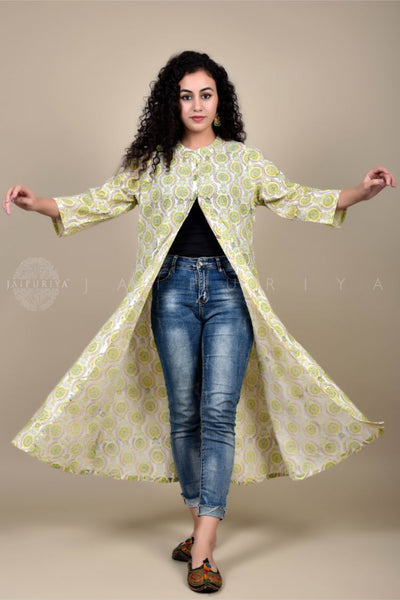 White Lemon Sitara Hand Embroidery Kurta